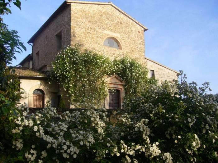 """Rose """"Iceberg"""" incorniciano il portale della chiesa. In primo piano la rosa """"Rambling Rector"""" sulla cancellata del giardino"""
