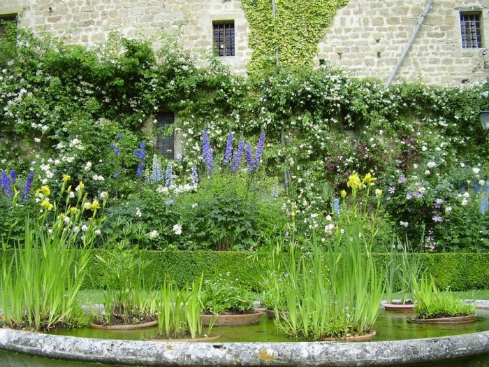 The garden in May in the foreground the stone basin with water plants
