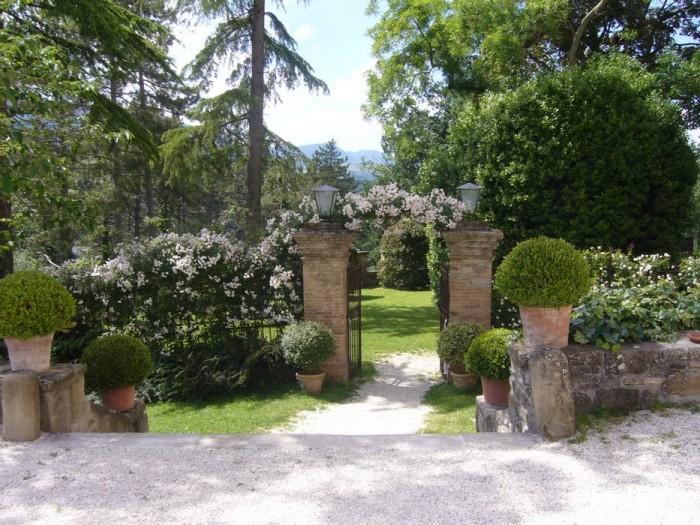 L'ingresso del giardino con la rosa Blush Noisette
