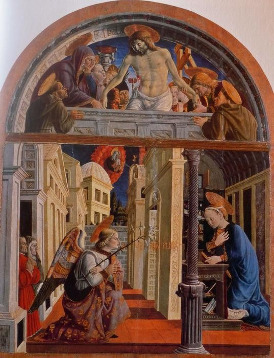 Girolamo di Giovanni, Annonciation, Camerino's Town Museum. The small kneeling figures on the left are Giulio Cesare Varano, who ordered the picture, and his daughter Camilla