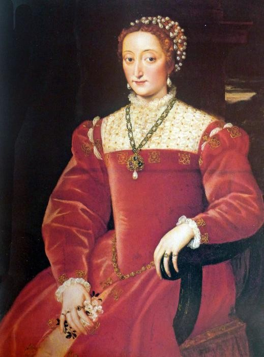 Giulia da Varano, daughter of Giovanni Maria and wife of Guidobaldo II della Rovere, duke of Urbino (Tiziano, Florence, Galleria Palatina)