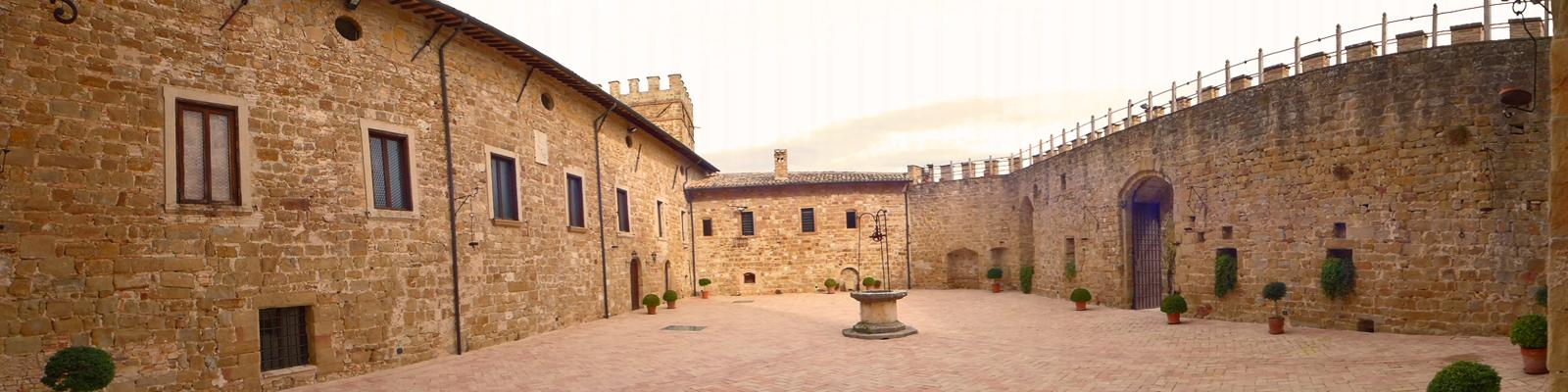 The courtyard surrounded by the castle's walls